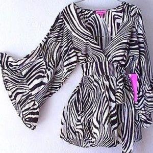 Betsey Johnson Zebra Tie Back Baby Doll Top NWT
